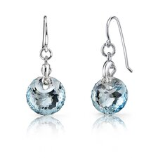 <strong>Oravo</strong> Spherical Cut 10 Carats Sky Blue Topaz Fishhook Earrings in Sterling Silver