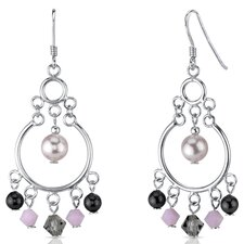 Cultured Pearl of Wisdom Pink s and Cultured Pearls Drop Earrings in Sterling Silver with Swarovski Elements