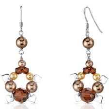 Chocolate Dream s and Cultured Pearls Drop Earrings in Sterling Silver with Swarovski Elements