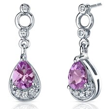 Simply Classy 2.00 Carats Pink Sapphire Dangle Earrings in Sterling Silver