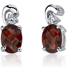 <strong>Oravo</strong> Sleek and Radiant 2.00 Carats Garnet Earrings in Sterling Silver