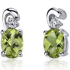 Sleek and Radiant 1.50 Carats Peridot Earrings in Sterling Silver