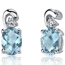 <strong>Oravo</strong> Sleek and Radiant 2.00 Carats Swiss Blue Topaz Earrings in Sterling Silver