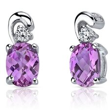 Sleek and Radiant 2.00 Carats Pink Sapphire Earrings in Sterling Silver