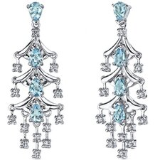 Captivating Seduction 4.00 Carats Swiss Blue Topaz Dangle Earrings in Sterling Silver