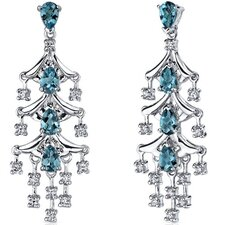 <strong>Oravo</strong> Captivating Seduction 4.00 Carats London Blue Topaz Dangle Earrings in Sterling Silver