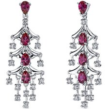 <strong>Oravo</strong> Captivating Seduction 4.00 Carats Ruby Dangle Earrings in Sterling Silver