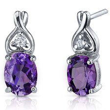 Classy Style Gemstone Oval Cut Cubic Zirconia Earrings in Sterling Silver