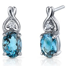 Classy Style 3.00 Carats London Blue Topaz Oval Cut Cubic Zirconia Earrings in Sterling Silver