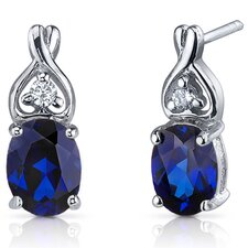 Classy Style 3.50 Carats Blue Sapphire Oval Cut Cubic Zirconia Earrings in Sterling Silver