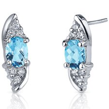 Dashing Dazzle 1.50 Carats Swiss Blue Topaz Oval Cut Cubic Zirconia Earrings in Sterling Silver