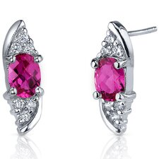 Dashing Dazzle 2.00 Carats Ruby Oval Cut Cubic Zirconia Earrings in Sterling Silver