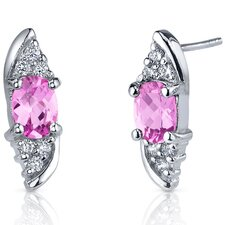 Dashing Dazzle 2.00 Carats Pink Sapphire Oval Cut Cubic Zirconia Earrings in Sterling Silver