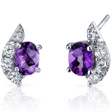 Sparkling Wave Gemstone Oval Cut Cubic Zirconia Earrings in Sterling Silver