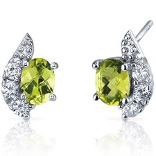 Sparkling Wave 1.50 Carats Peridot Oval Cut Cubic Zirconia Earrings in Sterling Silver