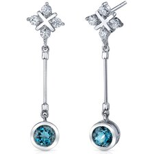 Seductive Allure 2.00 Carats London Blue Topaz Round Cut Dangle Cubic Zirconia Earrings in Sterling Silver