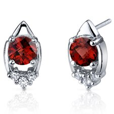 Majestic Charm 2.00 Carats Garnet Round Cut Cubic Zirconia Earrings in Sterling Silver