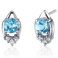 Majestic Charm 2.00 Carats Swiss Blue Topaz Round Cut Cubic Zirconia Earrings in Sterling Silver
