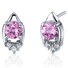 Majestic Charm 2.00 Carats Pink Sapphire Round Cut Cubic Zirconia Earrings in Sterling Silver