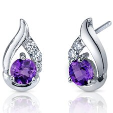 Radiant Teardrop 1.00 Carats Gemstone Round Cut Cubic Zirconia Earrings in Sterling Silver