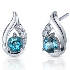 Radiant Teardrop 1.00 Carats London Blue Topaz Round Cut Cubic Zirconia Earrings in Sterling Silver