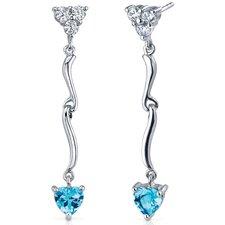 Brilliant Love 2.00 Carats Swiss Blue Topaz Heart Shape Dangle Cubic Zirconia Earrings in Sterling Silver