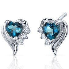 Cupids Grace 1.00 Carats London Blue Topaz Heart Shape Cubic Zirconia Earrings in Sterling Silver