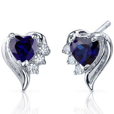 Cupids Grace 1.50 Carats Blue Sapphire Heart Shape Cubic Zirconia Earrings in Sterling Silver