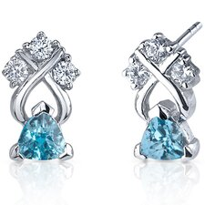 Regal Elegance 1.00 Carats Swiss Blue Topaz Trillion Cut Cubic Zirconia Earrings in Sterling Silver