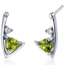 Modern Sophistication 1.50 Carats Peridot Trillion Cut Cubic Zirconia Earrings in Sterling Silver