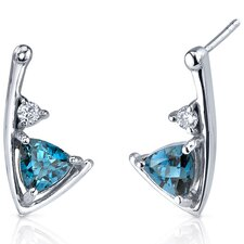 Modern Sophistication 1.50 Carats London Blue Topaz Trillion Cut Cubic Zirconia Earrings in Sterling Silver