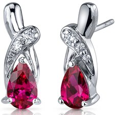 Graceful Glamour 2.00 Carats Ruby Pear Shape Cubic Zirconia Earrings in Sterling Silver