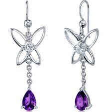<strong>Oravo</strong> Butterfly Design Gemstone Pear Shape Dangle Cubic Zirconia Earrings in Sterling Silver