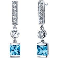 Exotic Sparkle 2.50 Carats Swiss Blue Topaz Princess Cut Dangle Cubic Zirconia Earrings in Sterling Silver