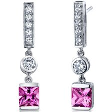 Exotic Sparkle 3.00 Carats Pink Sapphire Princess Cut Dangle Cubic Zirconia Earrings in Sterling Silver