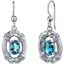 Antique Style 1.75 Carats London Blue Topaz Oval Cut Dangle Cubic Zirconia Earrings in Sterling Silver