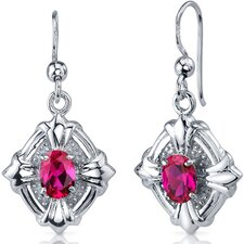 <strong>Oravo</strong> Victorian Design 2.00 Carats Ruby Oval Cut Dangle Cubic Zirconia Earrings in Sterling Silver