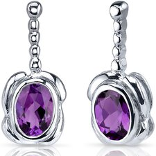 Vivid Curves Gemstone Oval Cut Earrings in Sterling Silver