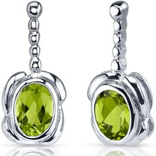 Vivid Curves 1.50 Carats Peridot Oval Cut Earrings in Sterling Silver