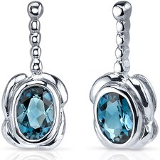 Vivid Curves 1.50 Carats London Blue Topaz Oval Cut Earrings in Sterling Silver