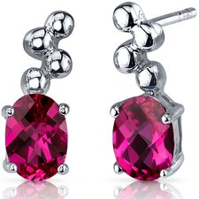 Bubbly 2.00 Carats Ruby Oval Cut Earrings in Sterling Silver