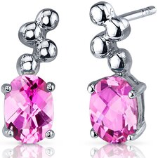 Bubbly 2.00 Carats Pink Sapphire Oval Cut Earrings in Sterling Silver
