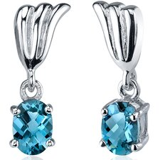 Striking 1.50 Carats London Blue Topaz Oval Cut Earrings in Sterling Silver