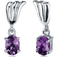 Striking 2.00 Carats Alexandrite Oval Cut Earrings in Sterling Silver