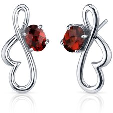 Rhythmic Curves 2.00 Carats Garnet Oval Cut Earrings in Sterling Silver