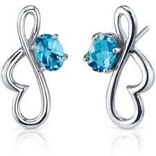 Rhythmic Curves 1.50 Carats Swiss Blue Topaz Oval Cut Earrings in Sterling Silver