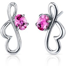 Rhythmic Curves 2.00 Carats Pink Sapphire Oval Cut Earrings in Sterling Silver