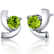 Illuminating 2.00 Carats Peridot Round Cut Earrings in Sterling Silver