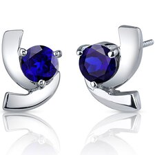 Illuminating 2.50 Carats Blue Sapphire Round Cut Earrings in Sterling Silver