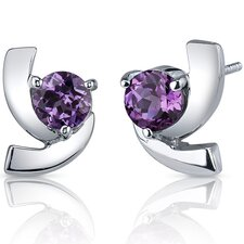 Illuminating 2.50 Carats Alexandrite Round Cut Earrings in Sterling Silver